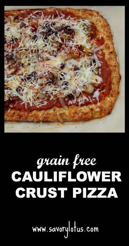 Cauliflower Crust Pizza (grain free) - savorylotus.com