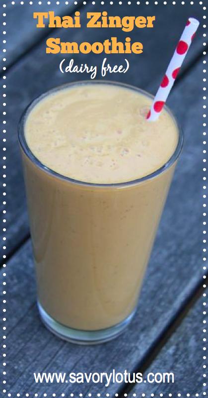 Thai Zinger Smoothie (dairy free, paleo) - savorylotus.com
