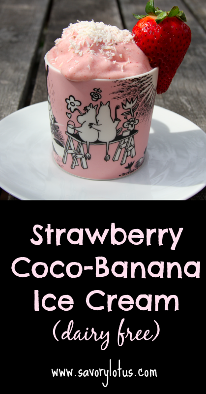 Strawberry Coco-Banana Ice Cream (dairy free) - savoryloyus.com