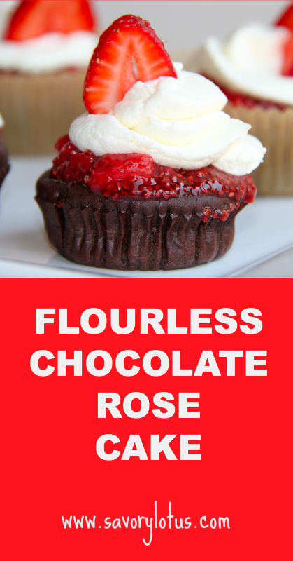 Flourless Chocolate Rose Cake - savorylotus.com