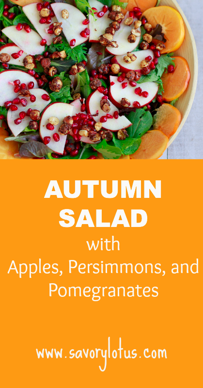 Autumn Salad with Apples, Persimmons, and Pomegranates - savorylotus.com