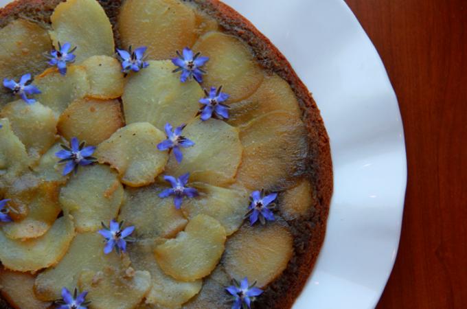 Upside Down Pear Cake with Cardamom Honey Glaze