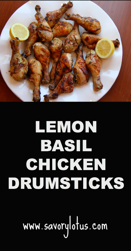 Lemon Basil Chicken Drumsticks - savorylotus.com