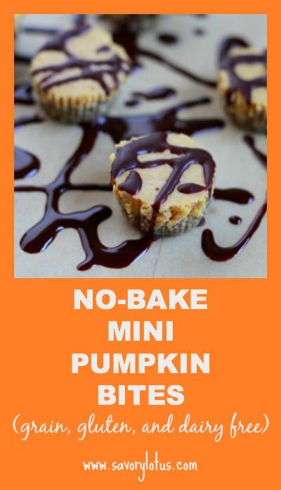 No-Bake Mini Pumpkin Bites (grain and dairy free) ~ savorylotus.com