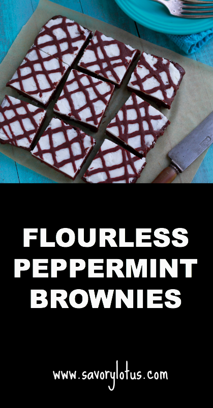 Flourless Peppermint Brownies - savorylotus.com