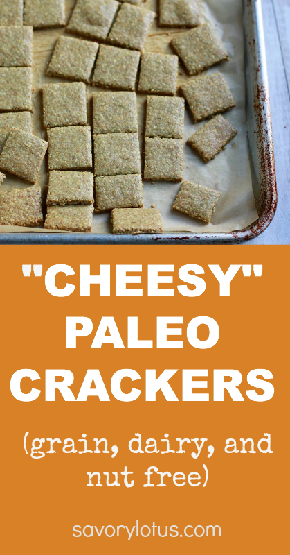 """Cheesy"" Paleo Crackers (grain, dairy and nut free) - savorylotus.com"