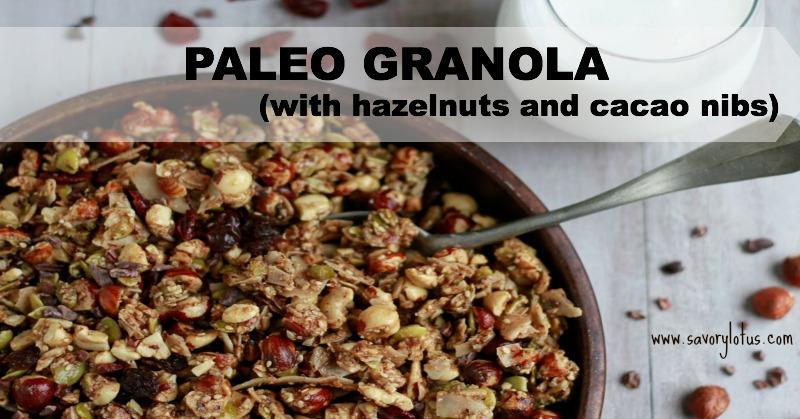 Paleo Granola (with hazelnuts and cacao nib) ~ savorylotus.com
