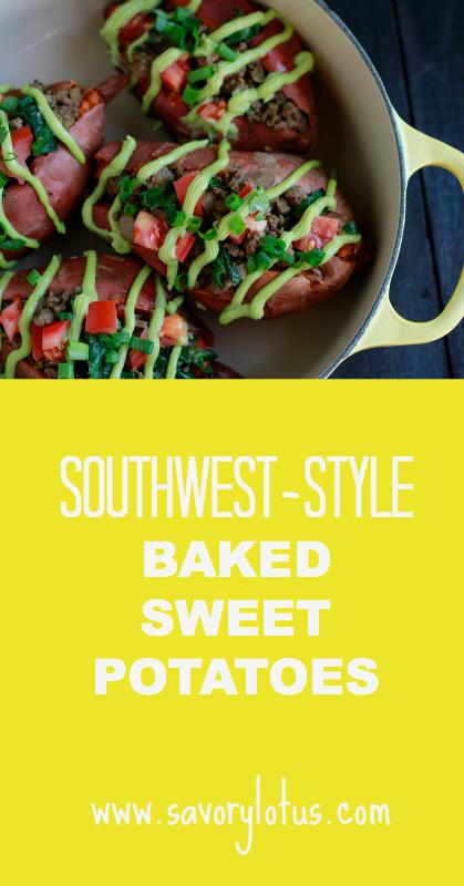 Southwest-Style Baked Sweet Potatoes - savorylotus.com
