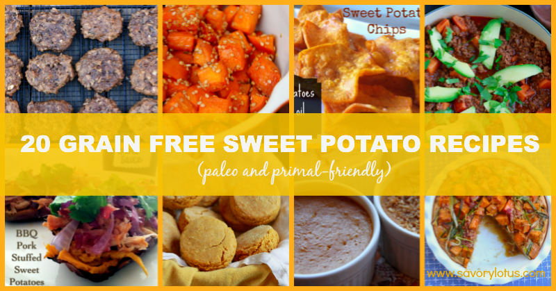 20 Grain Free Sweet Potato Recipes savorylotus.com