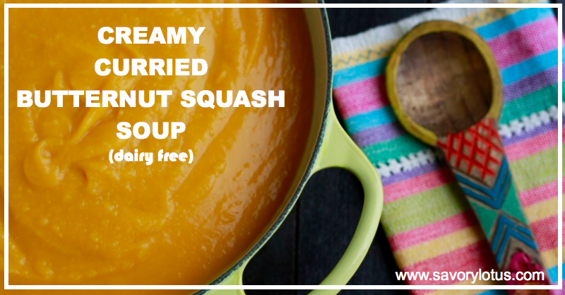 Creamy Curried Butternut Squash Soup (dairy free) : savorylotus.com