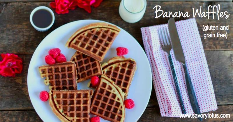 Banana Waffles (gluten and grain free, paleo)   savorylotus.com