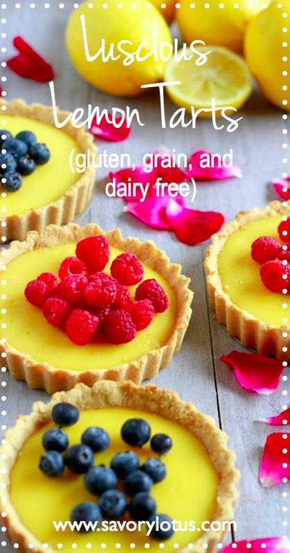 Luscious Lemon Tarts (gluten, grain, and dairy free, paleo) - savorylotus.com