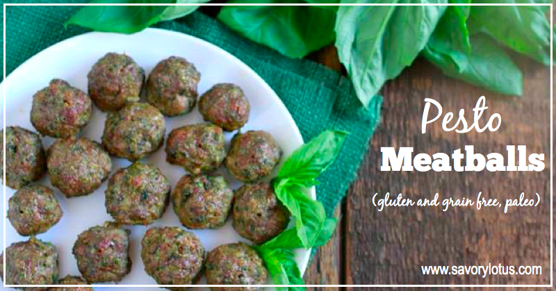 Pesto Meatballs (gluten and grain free, paleo) | savorylotus.com
