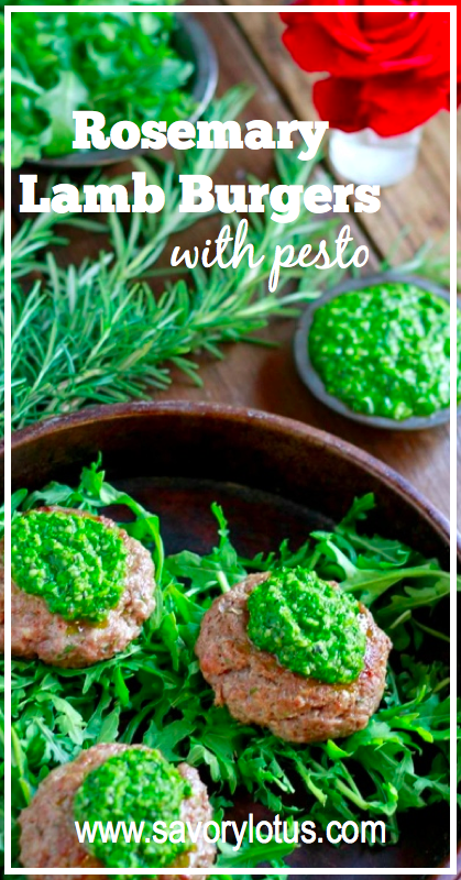 Rosemary Lamb Burgers with Pesto (gluten and grain free) - savorylotus.com