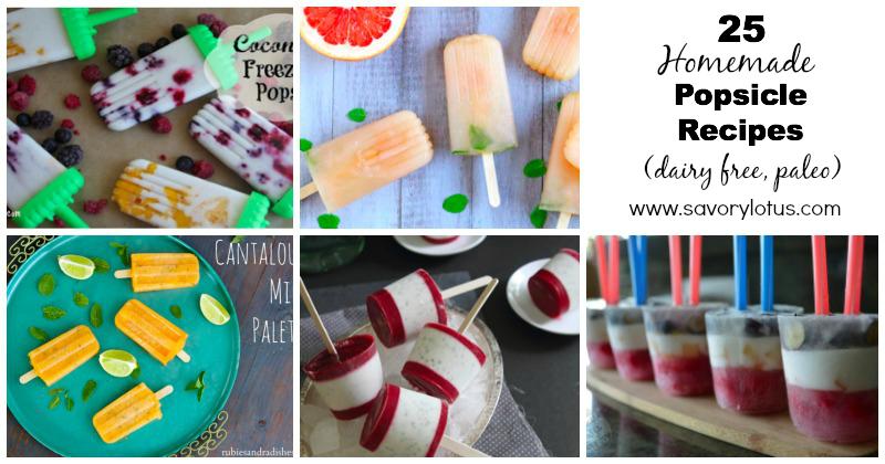 25 Homemade Popsicle Recipes (dairy free, paleo) savorylotus.com