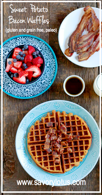 Sweet Potato Bacon Waffles (gluten and grain free, paleo) - savorylotus.com
