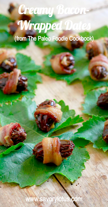 Creamy Bacon-Wrapped Dates (dairy free/paleo) - savorylotus.com