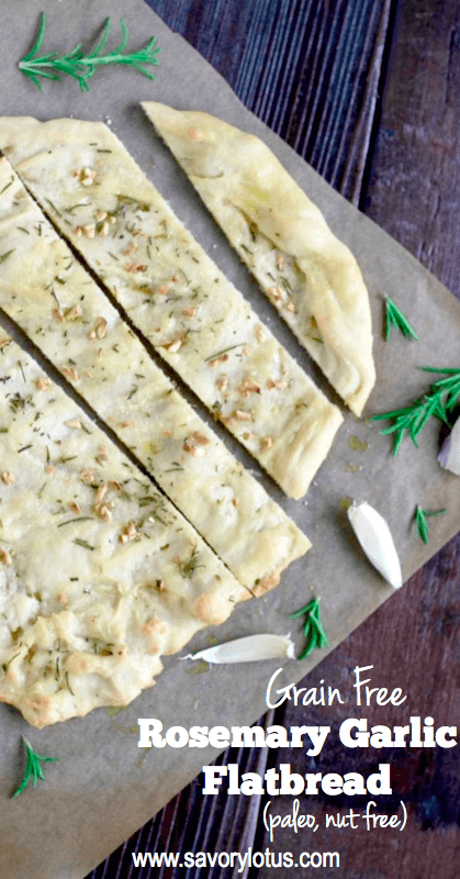 flatbread with rosemary and garlic on top