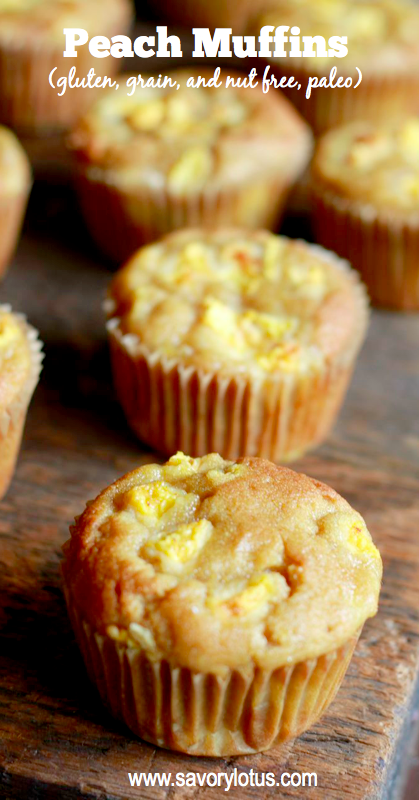 Peach Muffins in a row