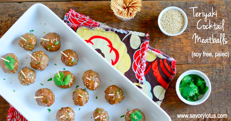 Teriyaki Cocktail Meatballs (grain free, paleo) | savorylotus.com
