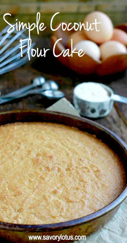 yellow cake in pan with flour and eggs