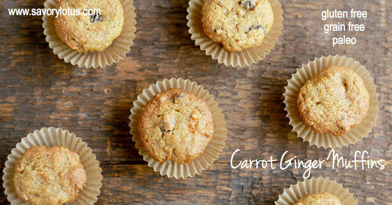 Carrot Ginger Muffins on a wooden table