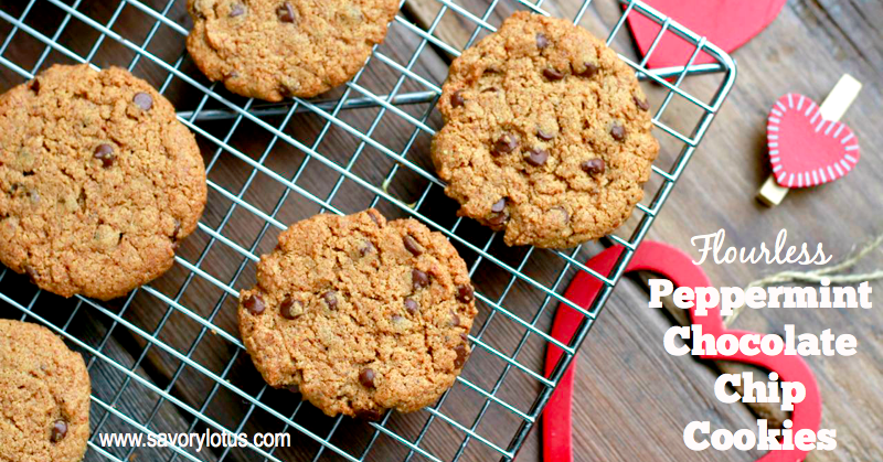flourless cookies, peppermint, chocolate chip cookies, paleo, grain free