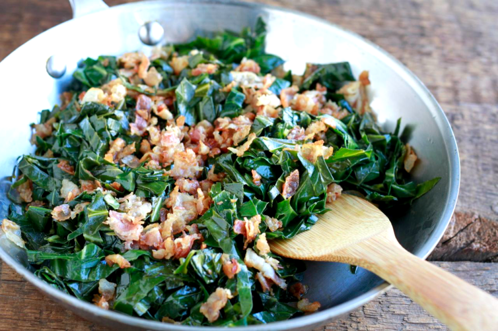 pancetta, vegetable sides, kale, collard greens