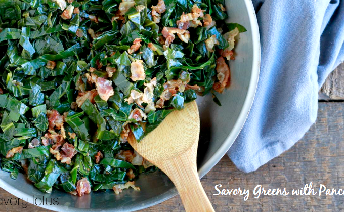 greens, kale, collards, pancetta