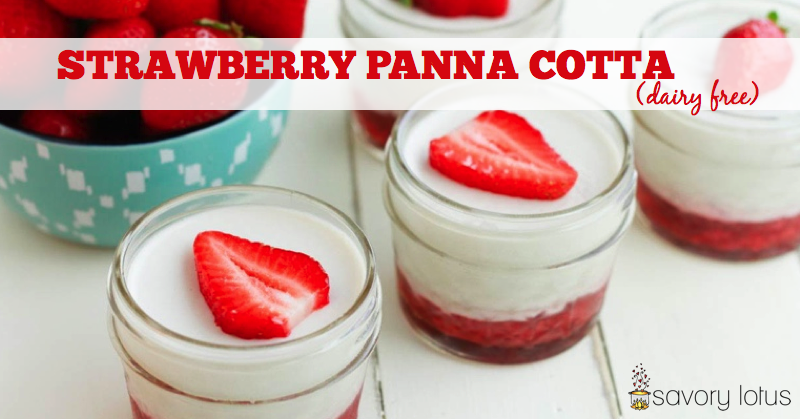 panna cotta, dairy free, paleo. strawberry