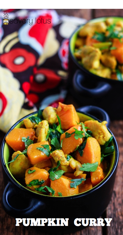 pumpkin curry in black bowl