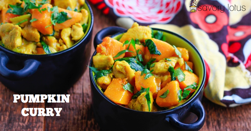 2 bowls of chicken pumpkin curry