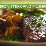 steak, mushrooms, cast iron, paleo