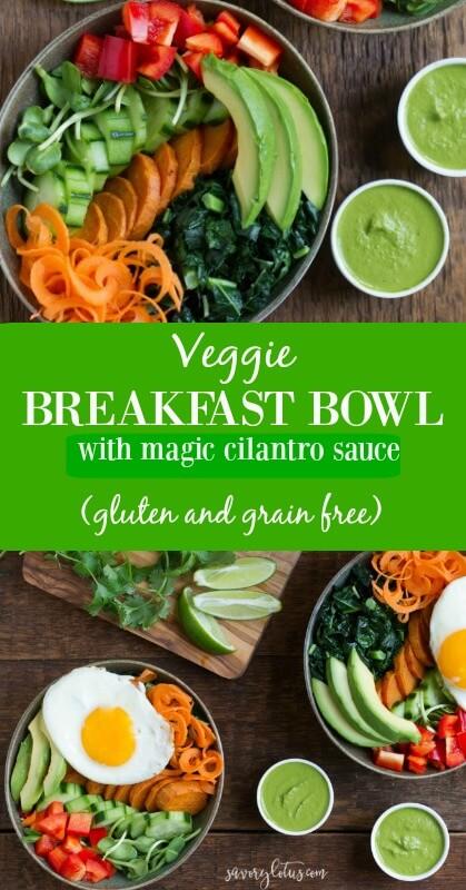 Veggie Breakfast Bowl with magic cilantro sauce - www.savorylotus.com