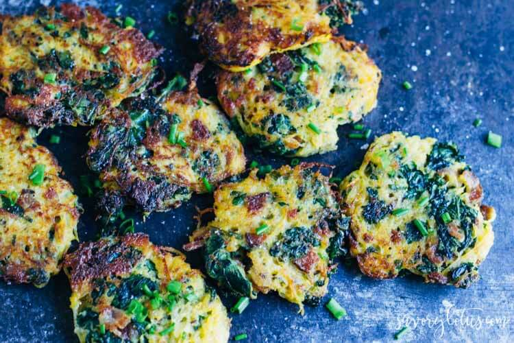 Bacon and Kale Spaghetti Squash Fritters on a cookie sheet