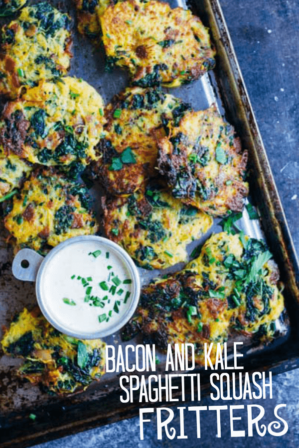 Bacon and Kale Spaghetti Squash Fritters with a silver bowl of white sauce