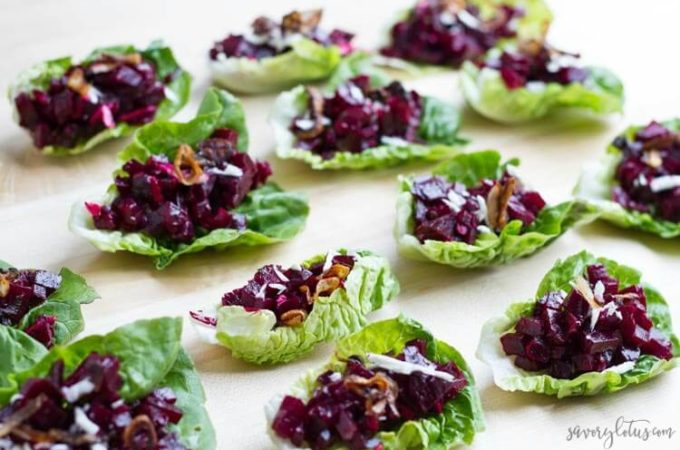 Beet Tartare Lettuce Cups (with crispy shallots) | www.savorylotus.com
