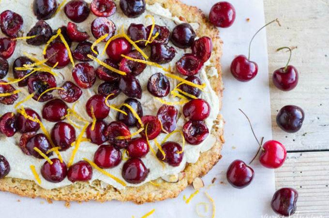 Simple Cherry Tart (gluten free) | www.savorylotus.com