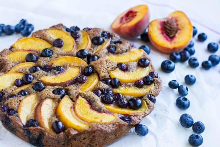 Rustic Blueberry Peach Cake (gluten free) -- www.savorylotus.com