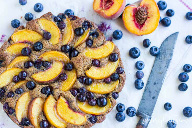 Rustic Blueberry Peach Cake (gluten free)   www.savorylotus.com