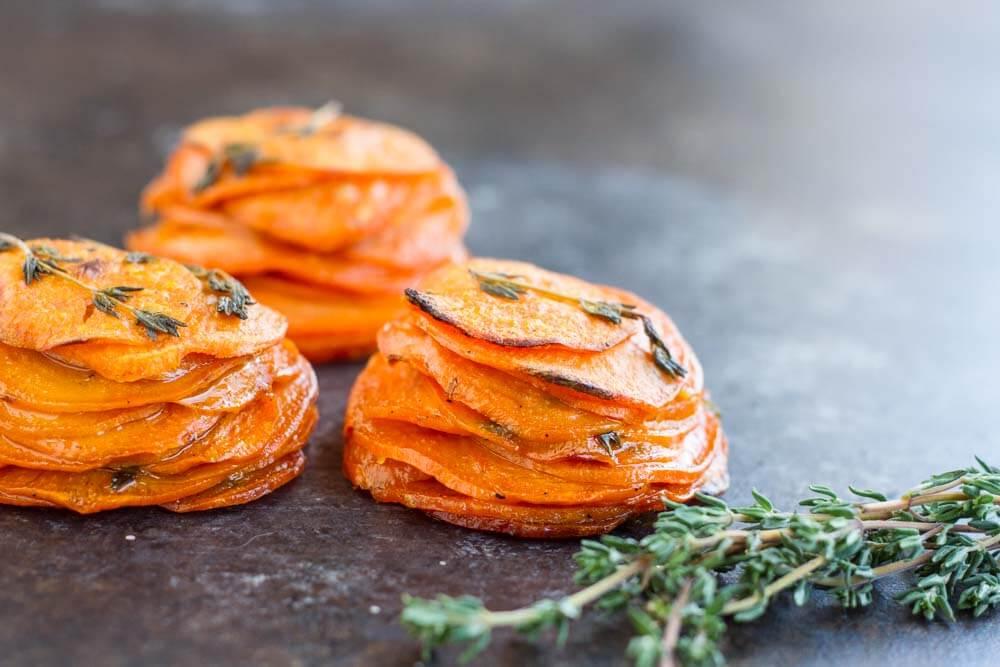 Mini Sweet Potato Pomme Anna --- www.savorylotus.com