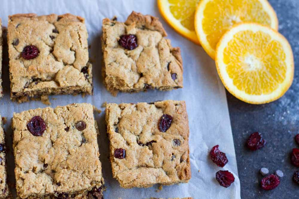 close up of Orange Cranberry Chocolate Chip Cookie Bars