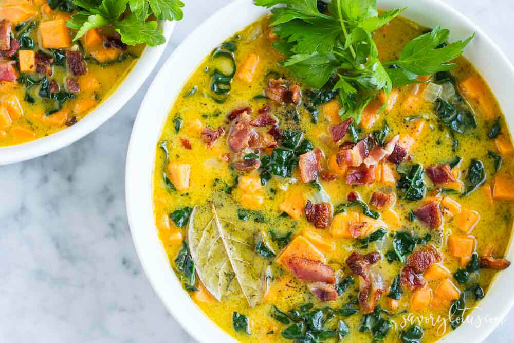 bowl of soup with sweet potatoes and bacon