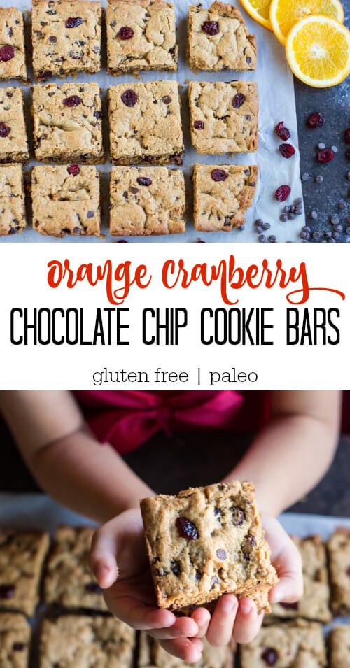 small hands holding Orange Cranberry Chocolate Chip Cookie Bars