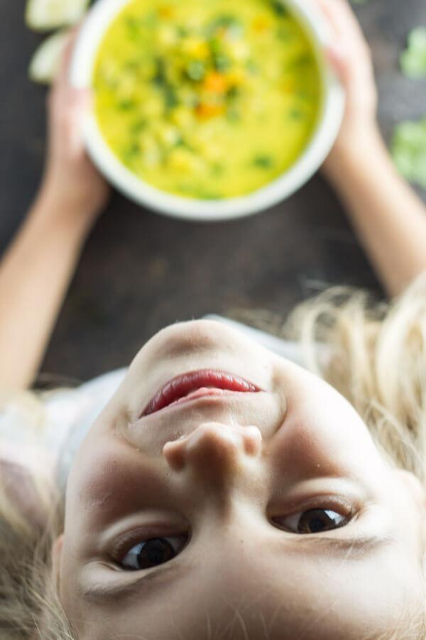 Curried Cauliflower and Kale Soup --- www.savorylotus.com