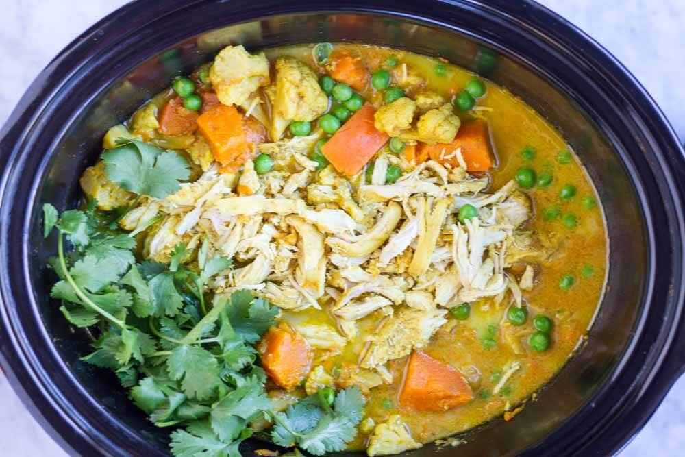 Slow Cooker Coconut Curry with Chicken www.savorylotus.com