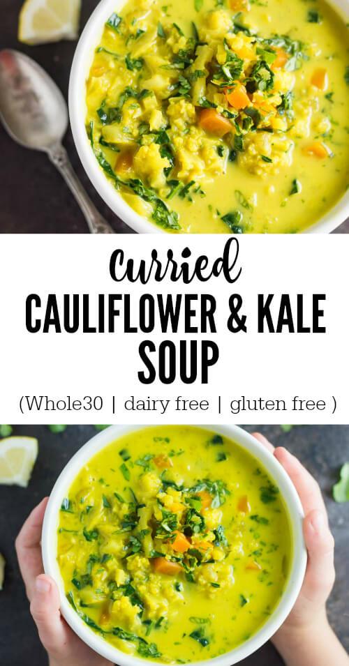 Curried Cauliflower and Kale Soup - www.savorylotus.com
