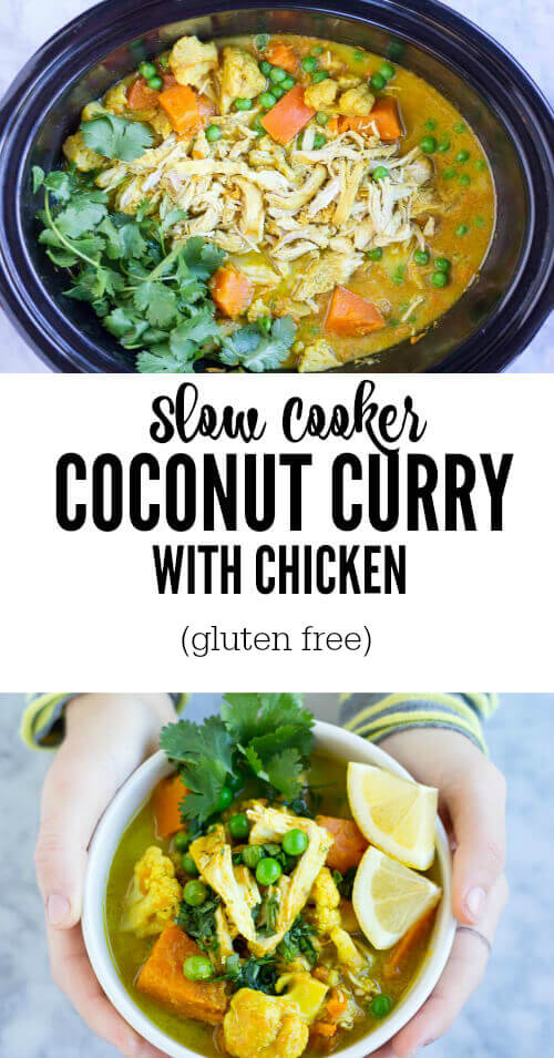 Slow Cooker Coconut Curry with Chicken ( gluten free) - www.savorylotus.com