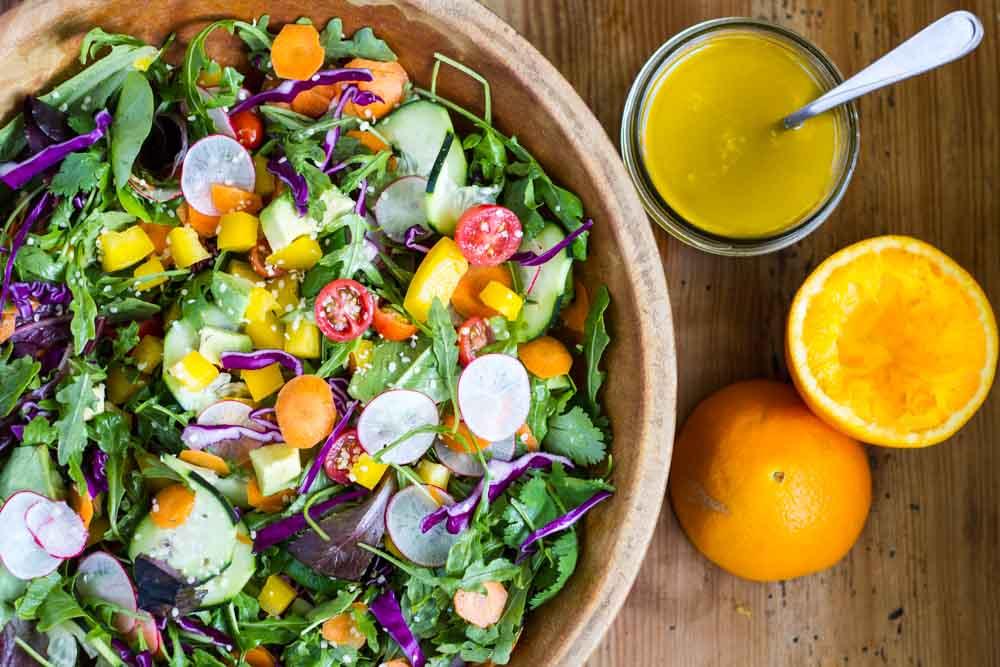 Rainbow Salad with Orange Vinaigrette ~~ www.savorylotus.com