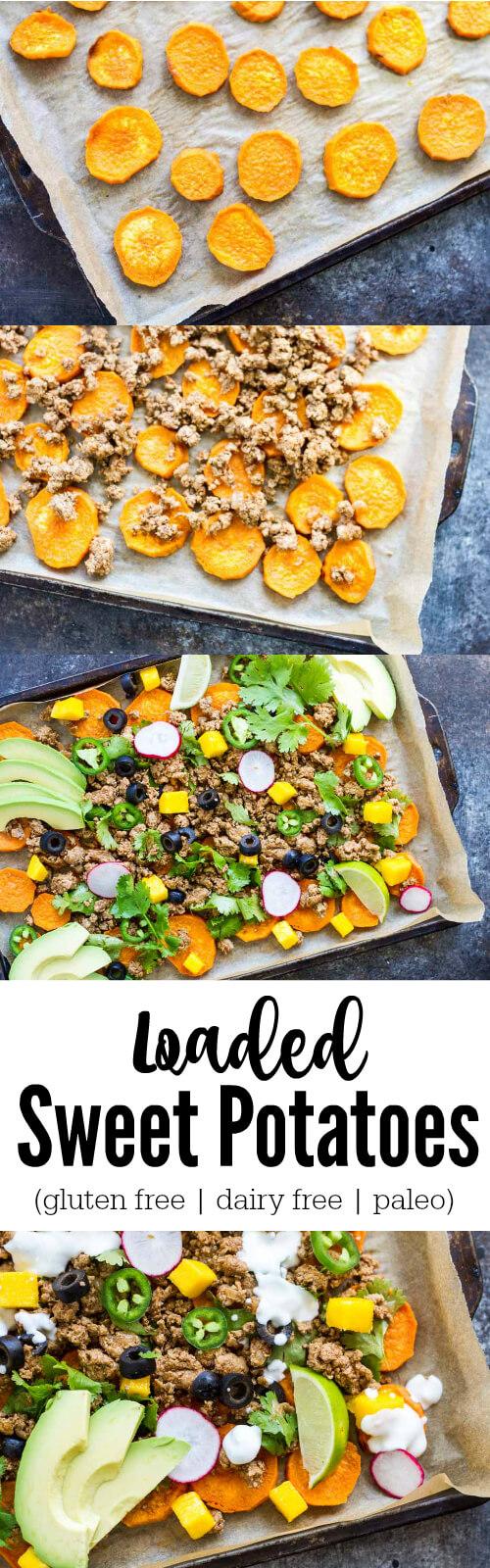 Loaded Sweet Potatoes (gluten free, dairy free, paleo) - www.savorylotus.com